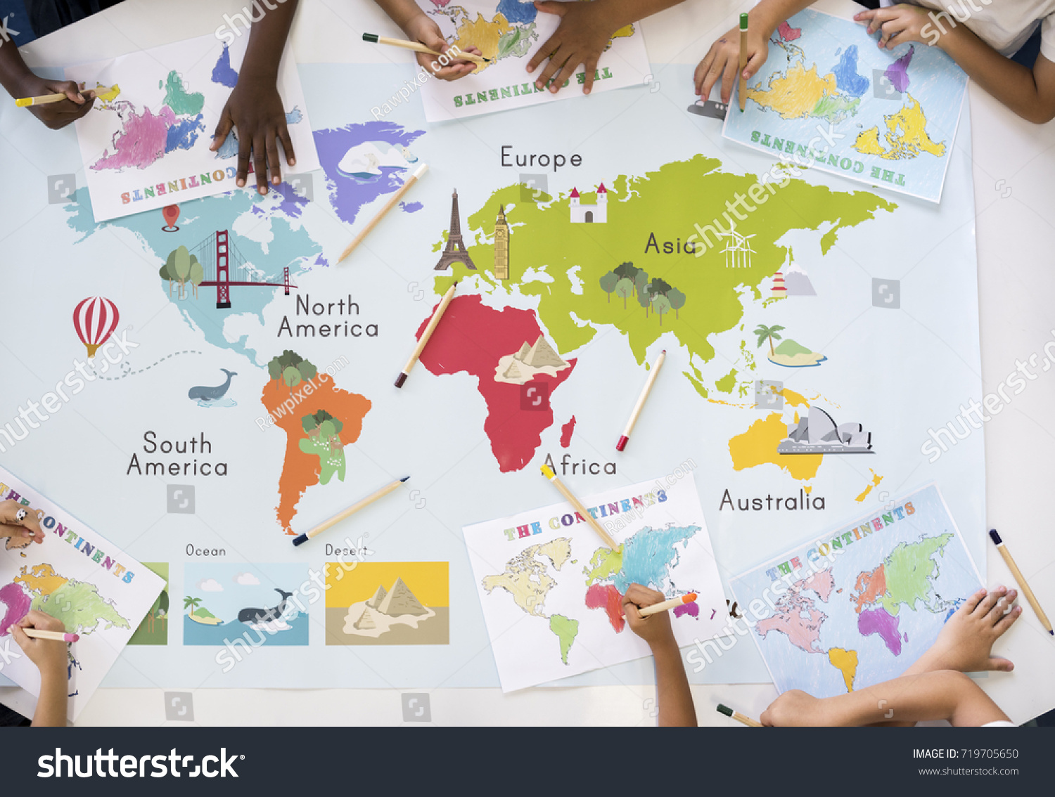Kids Learning World Map Continents Countries Stock Photo Edit Now