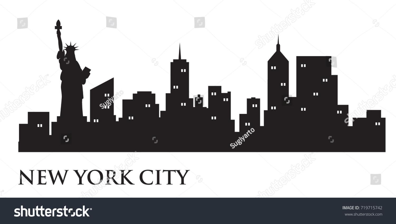 New York Skyline Silhouette Skyline Vector Stock Vector Royalty