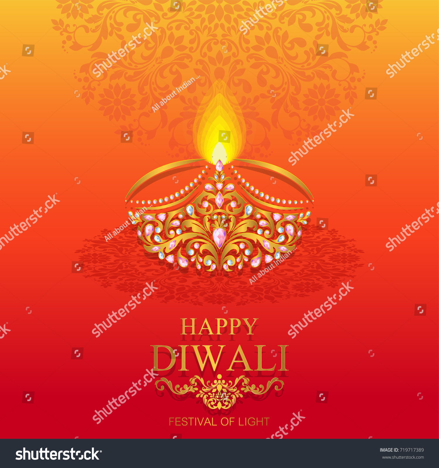 Happy Diwali Festival Card With Gold Peacock Patterned And Crystals