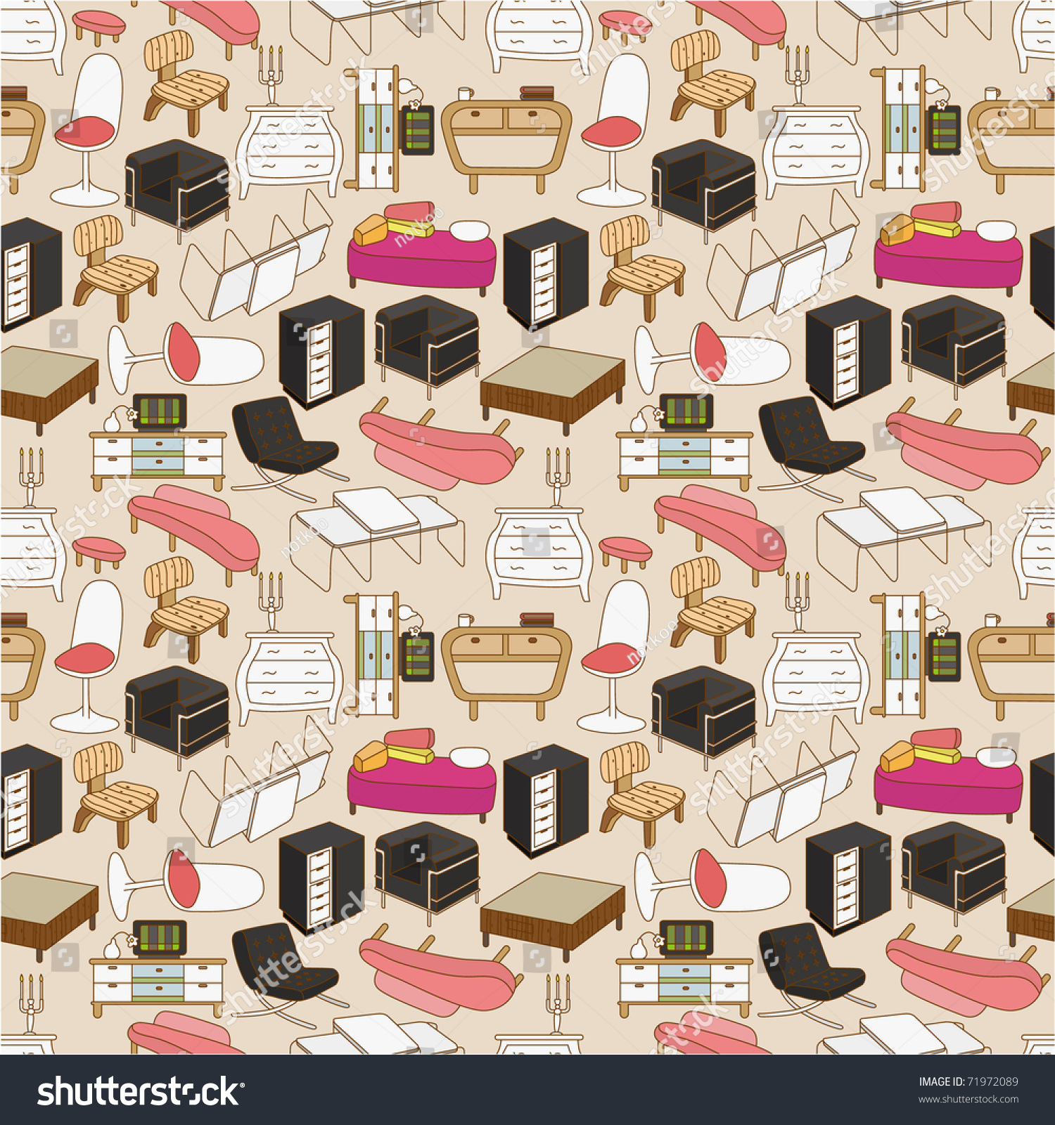 Bedroom Colour Images Bedroom Chairs And Stools Sensual Bedroom Art Bedroom Furniture Cartoon: Seamless Furniture Pattern Stock Vector 71972089