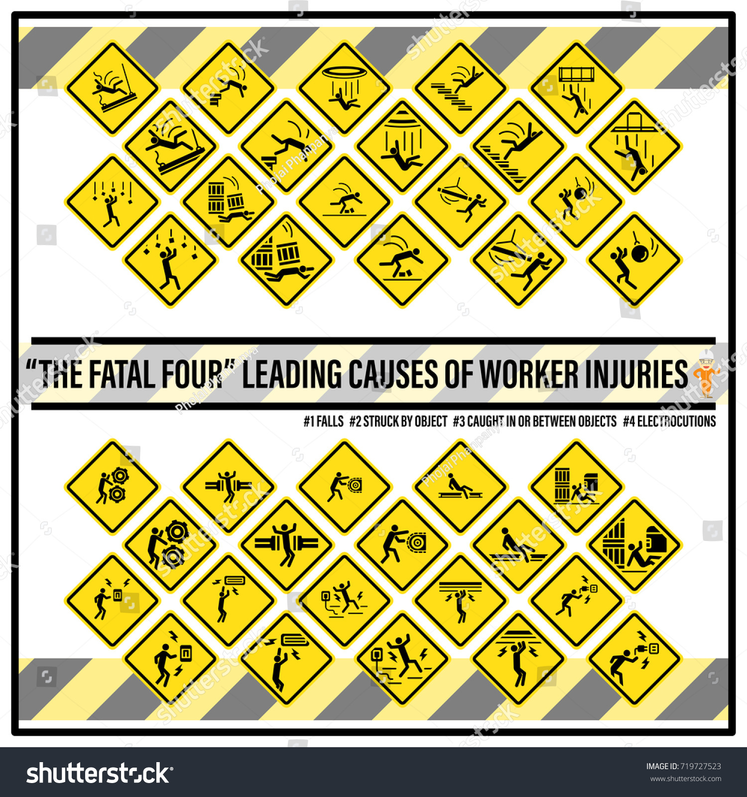 Set Safety Signs Symbols Fatal Hazards Stock Vector Royalty Free