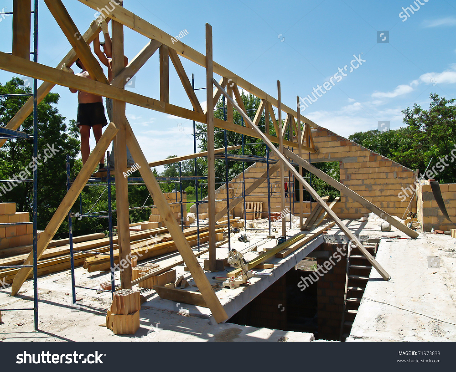 Roof Construction Truss Install Stock Photo 71973838