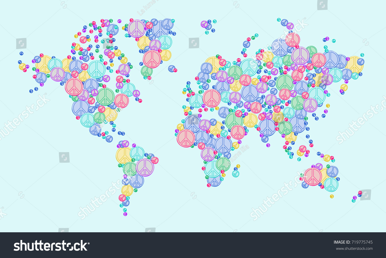 Illustration vector world map peace signs stock vector 719775745 illustration vector world map with peace signs world peace reconciliation and friendship concept design publicscrutiny Image collections