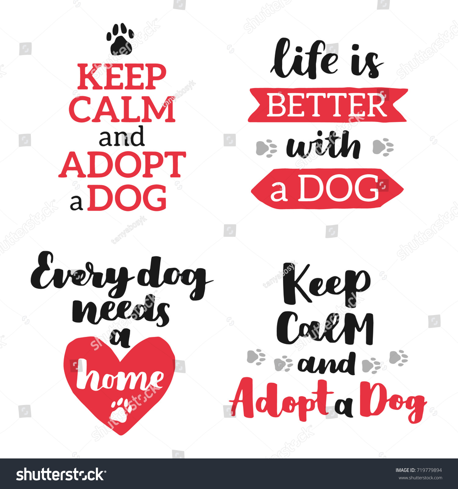 Adoption Quotes Set Dog Adoption Hand Written Lettering Stock Vector 719779894