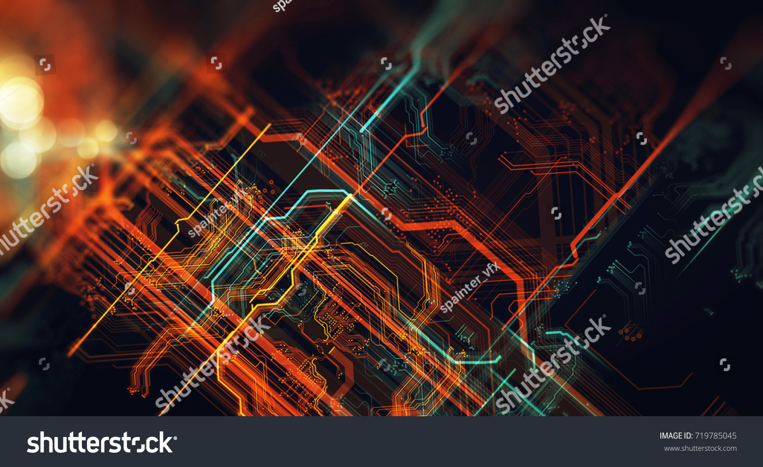 Abstract Technological Background Made Different Element Stock Pcb The Printedcircuitboard 3d Royalty Free Photography Of Printed Circuit Board And Flares Depth Field