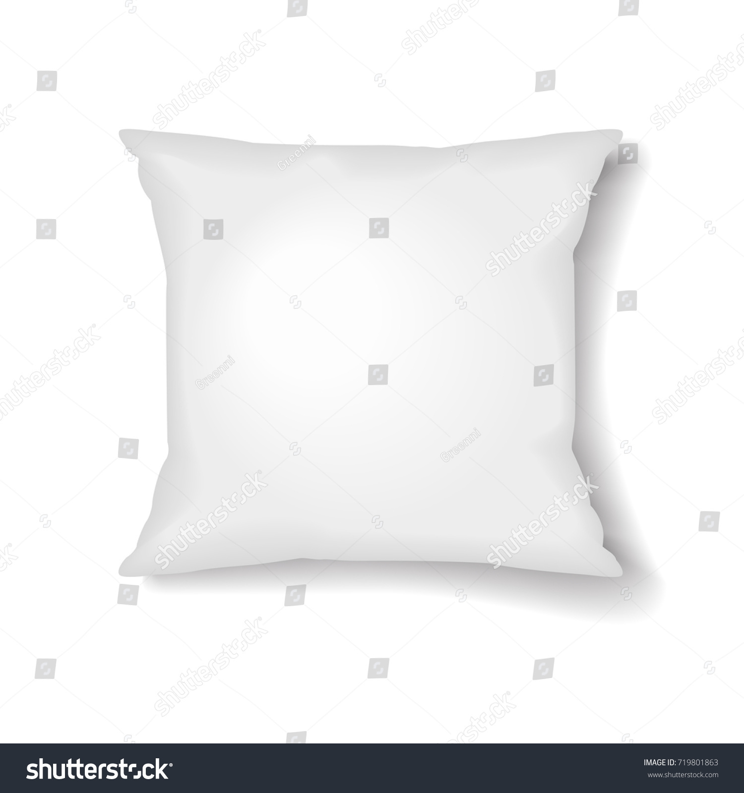square pillow template isolated on white stock vector 719801863