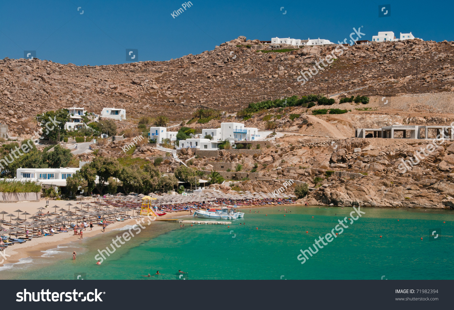 Best Island Beaches For Partying Mykonos St Barts: Super Paradise Beach Mykonos Greece Sunny Stock Photo