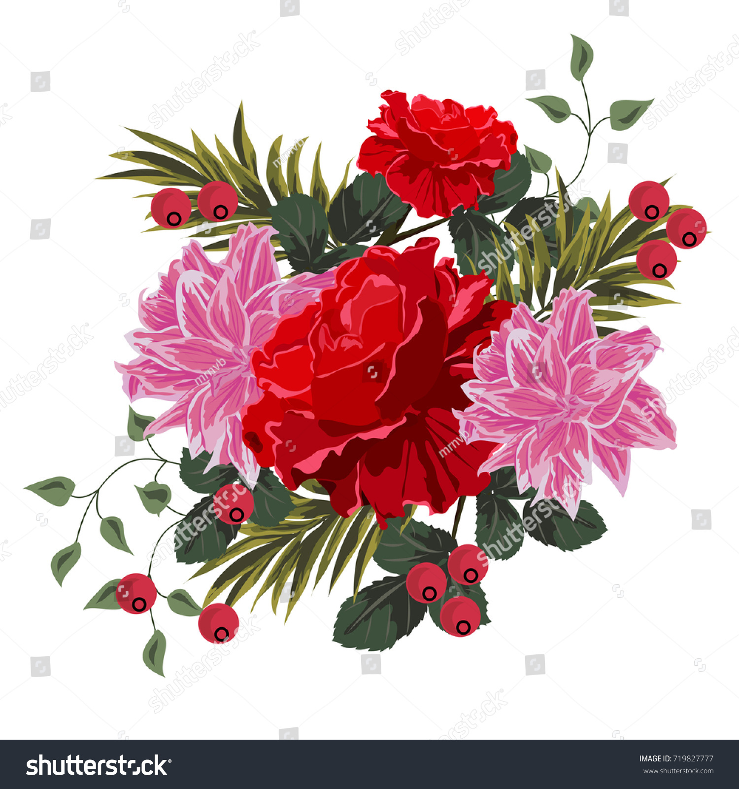 Bouquet Red Roses Lilies Berries Decor Stock Vector (Royalty Free ...