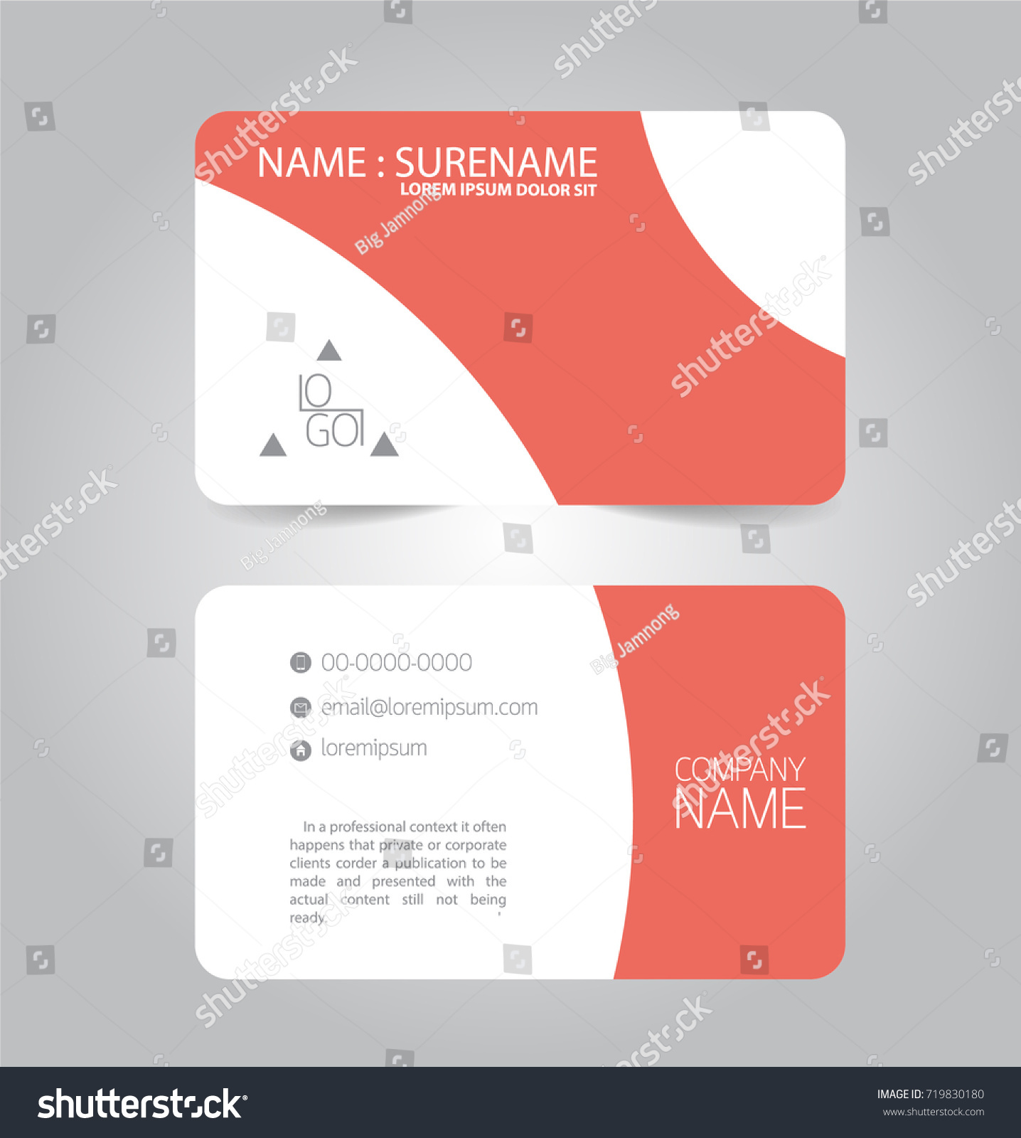 Modern Red Business Name Card Template Stock Vector 719830180 ...