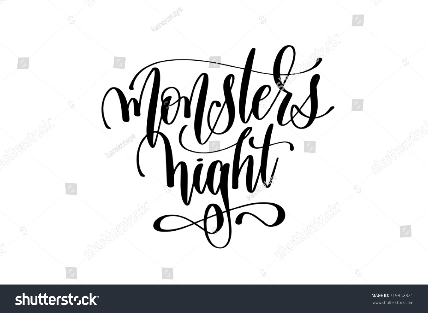Monsters Night Hand Lettering Halloween Holiday Inscription Isolated