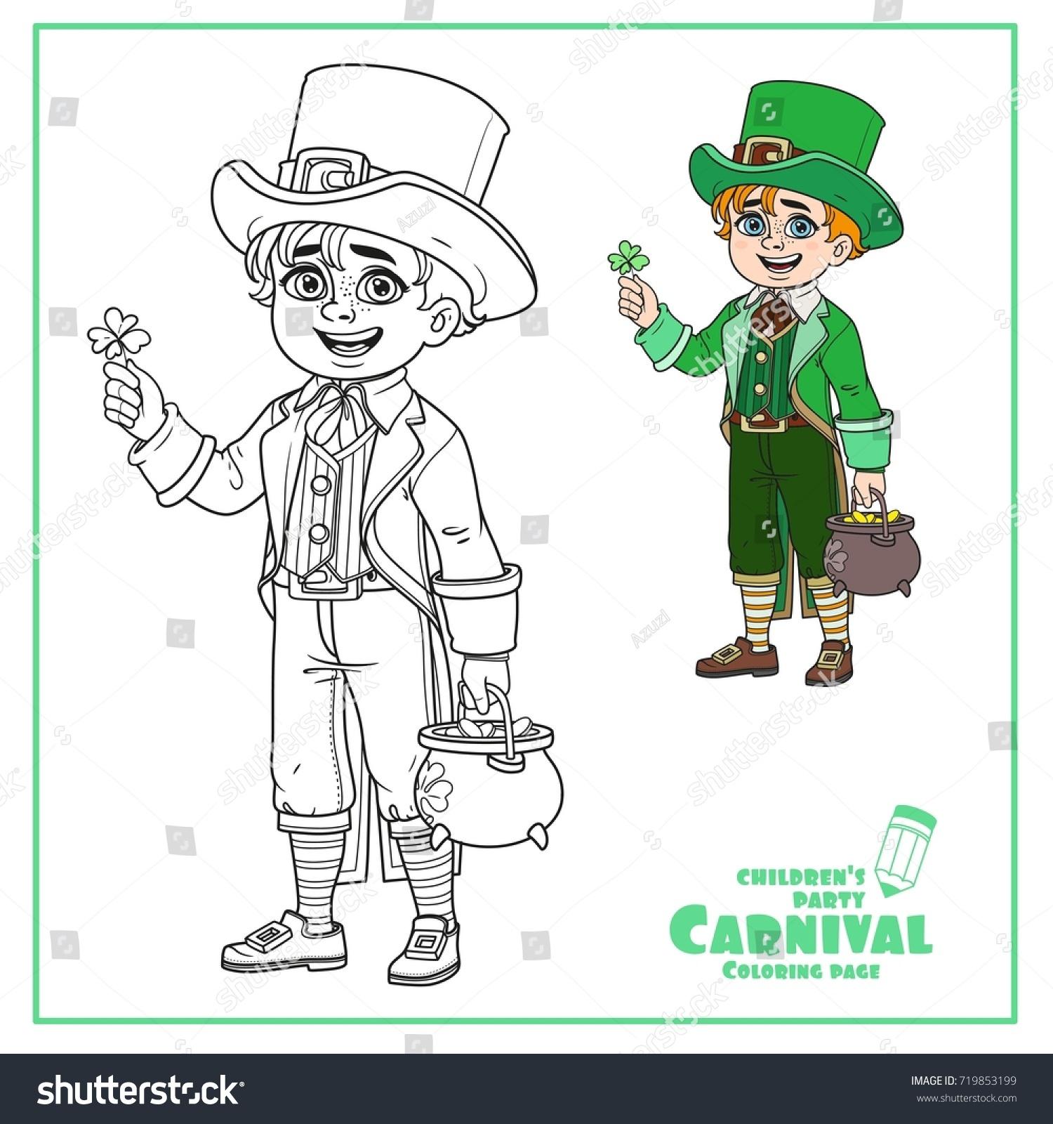 cute boy leprechaun costume pot gold stock vector 719853199