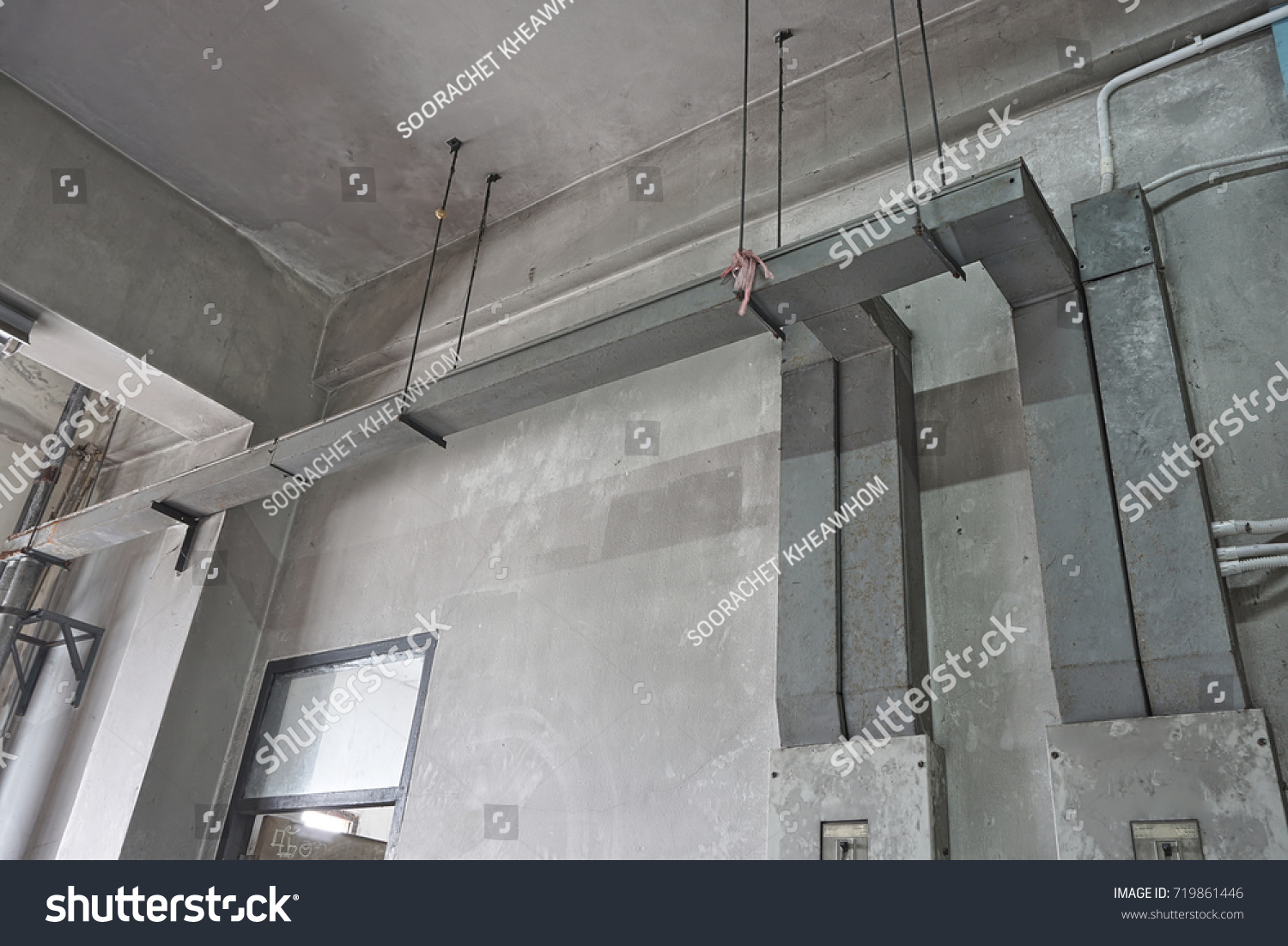 Wiring Conduit Made Gray Metal Mounted Stock Photo Edit Now With Of To The Wall For Different Points