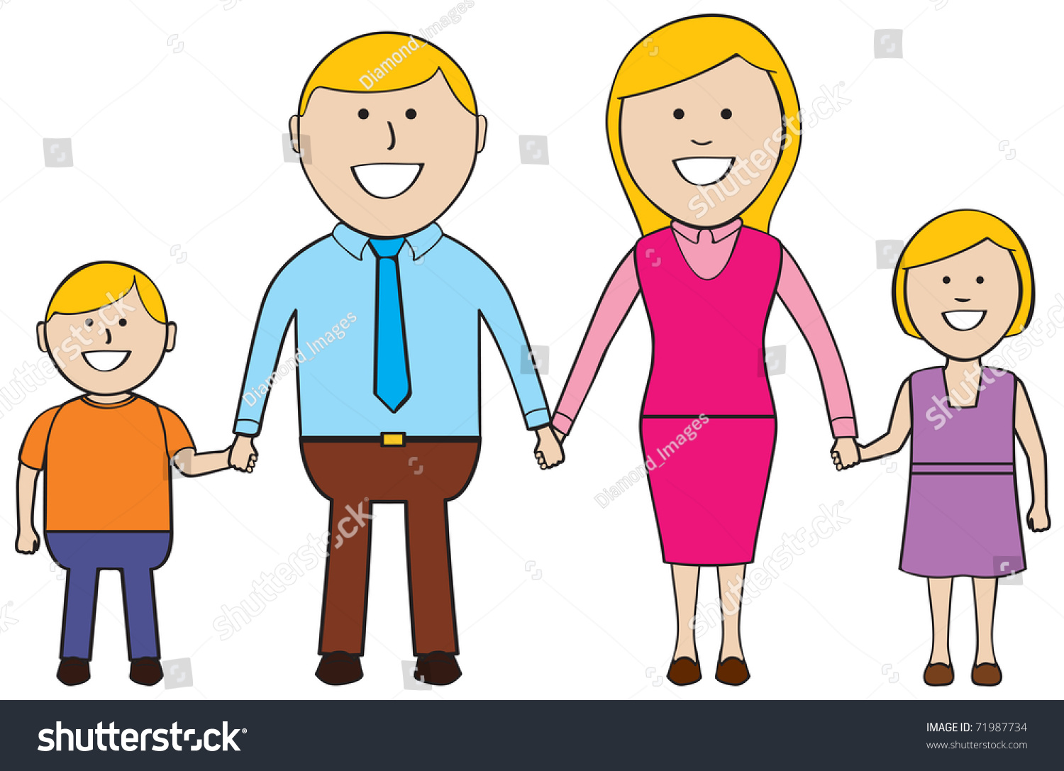 happy family standing together holding handsのイラスト素材 71987734