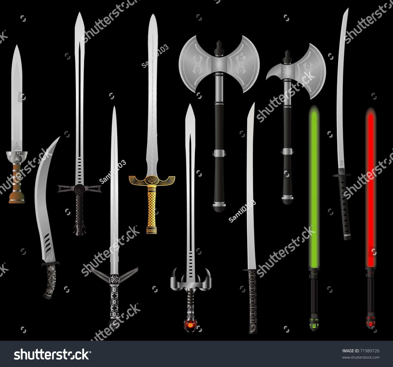 Set Fantasy Swords Axes Vector Illustration Stock Vector ...