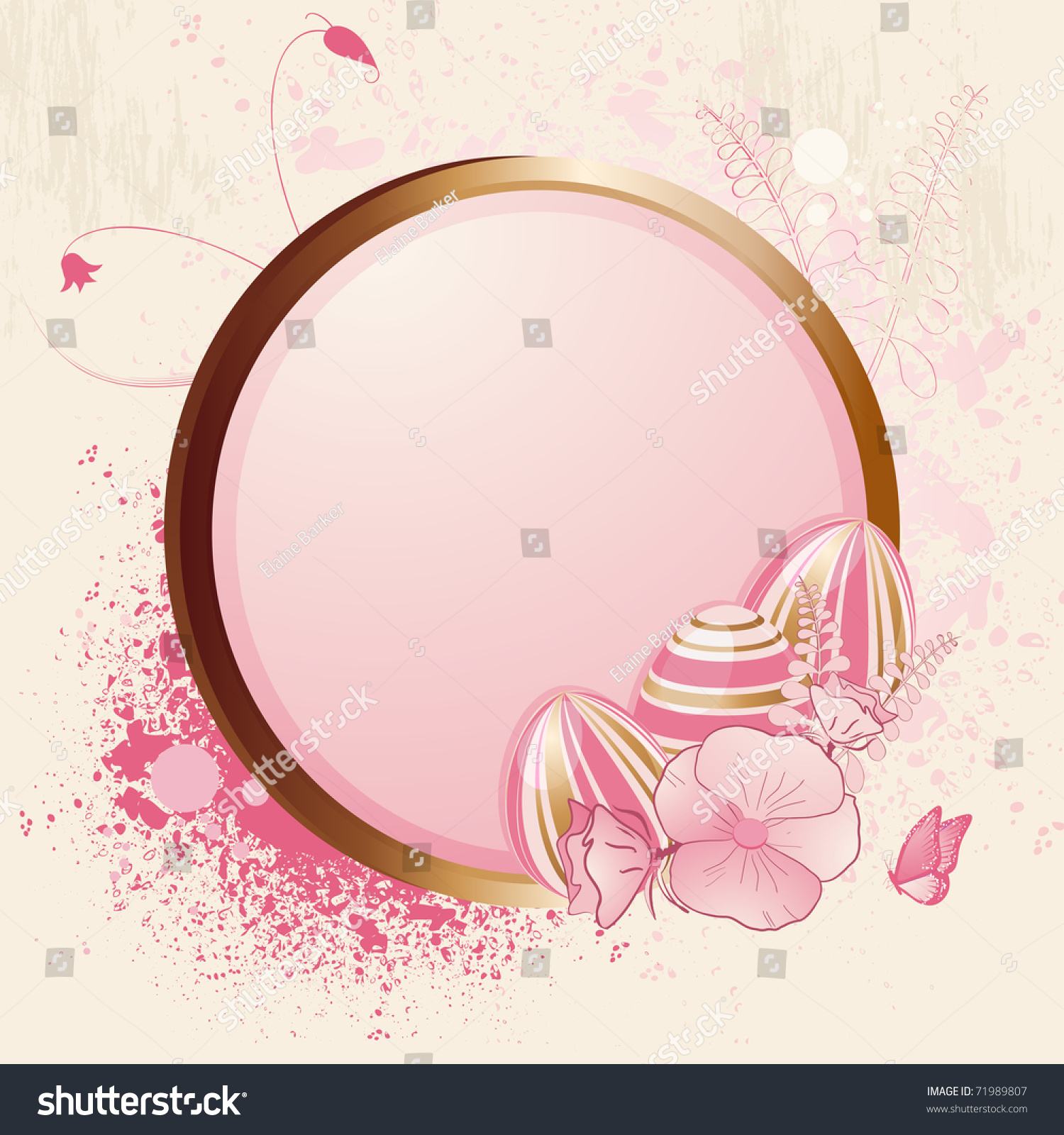 Pink Gold Easter Eggs On Gold Stock Vector Royalty Free 71989807