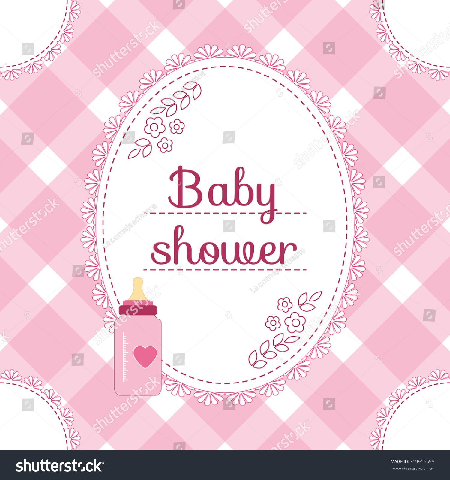 Baby Shower Invitation Card Baby Girl Stock Vector