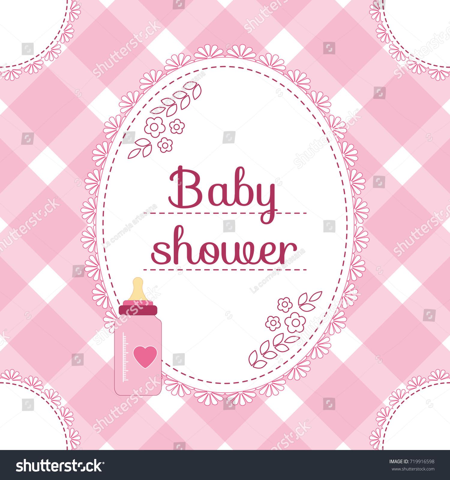 Baby Shower Invitation Card Baby Girl Stock Vector