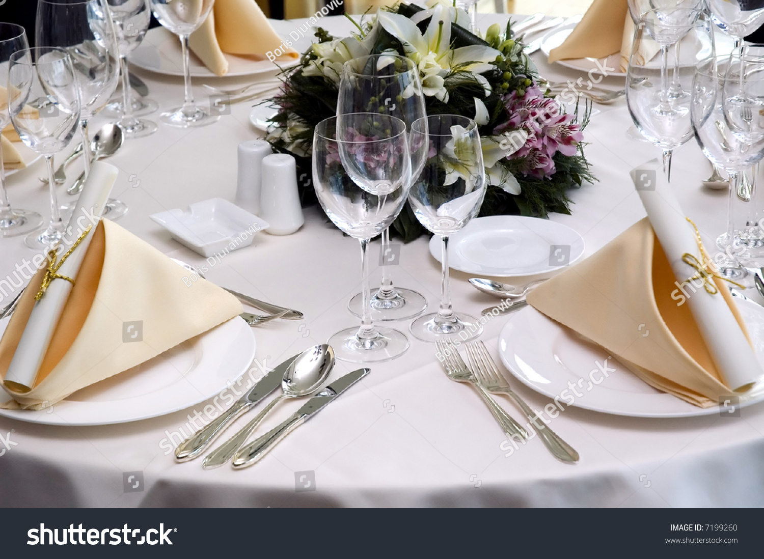 Table Preparing For After Wedding Ceremony Diner In Luxury Hotels Restaurant