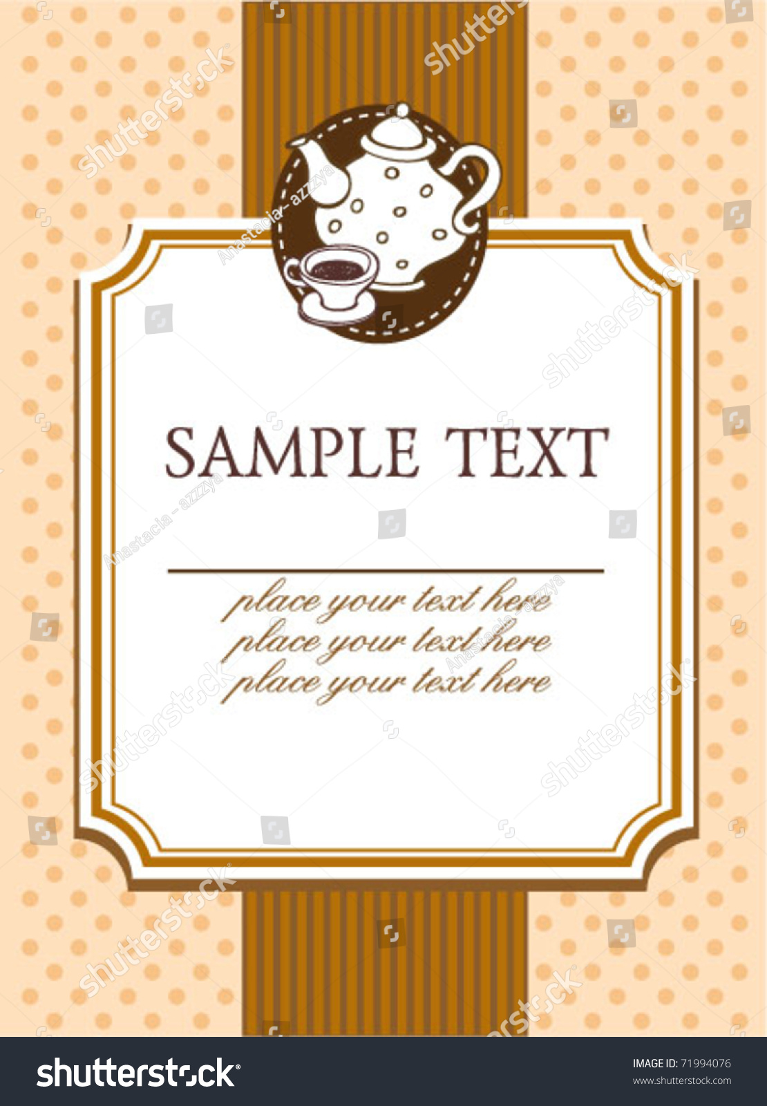 Cafe Menu Template Place Sample Text Vector 71994076 – Sample Cafe Menu Template
