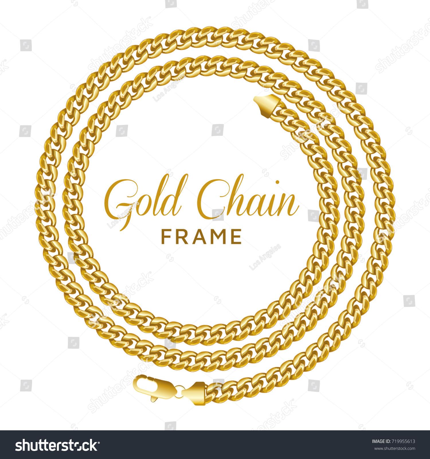 Golden Chain Round Spiral Border Frame Stock Vector 719955613 ...