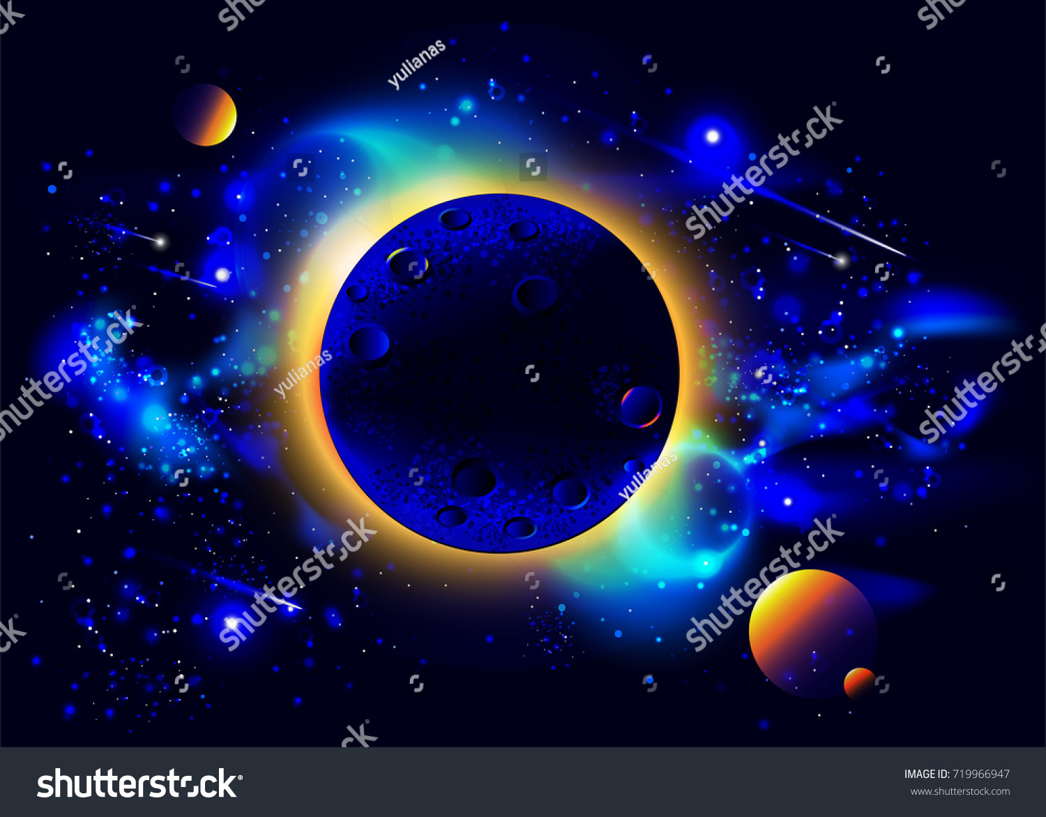 Space Background With Planets Stars Flares Nebula Milky Way And Eclipse