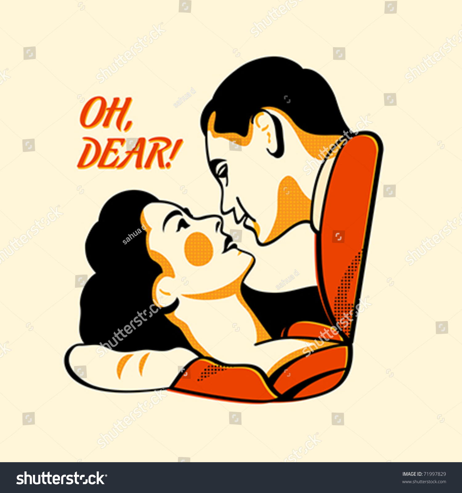 Color halftone printing - Retro Lovers In Three Color Print Halftone Pattern Stock Vector Illustration 71997829 Shutterstock