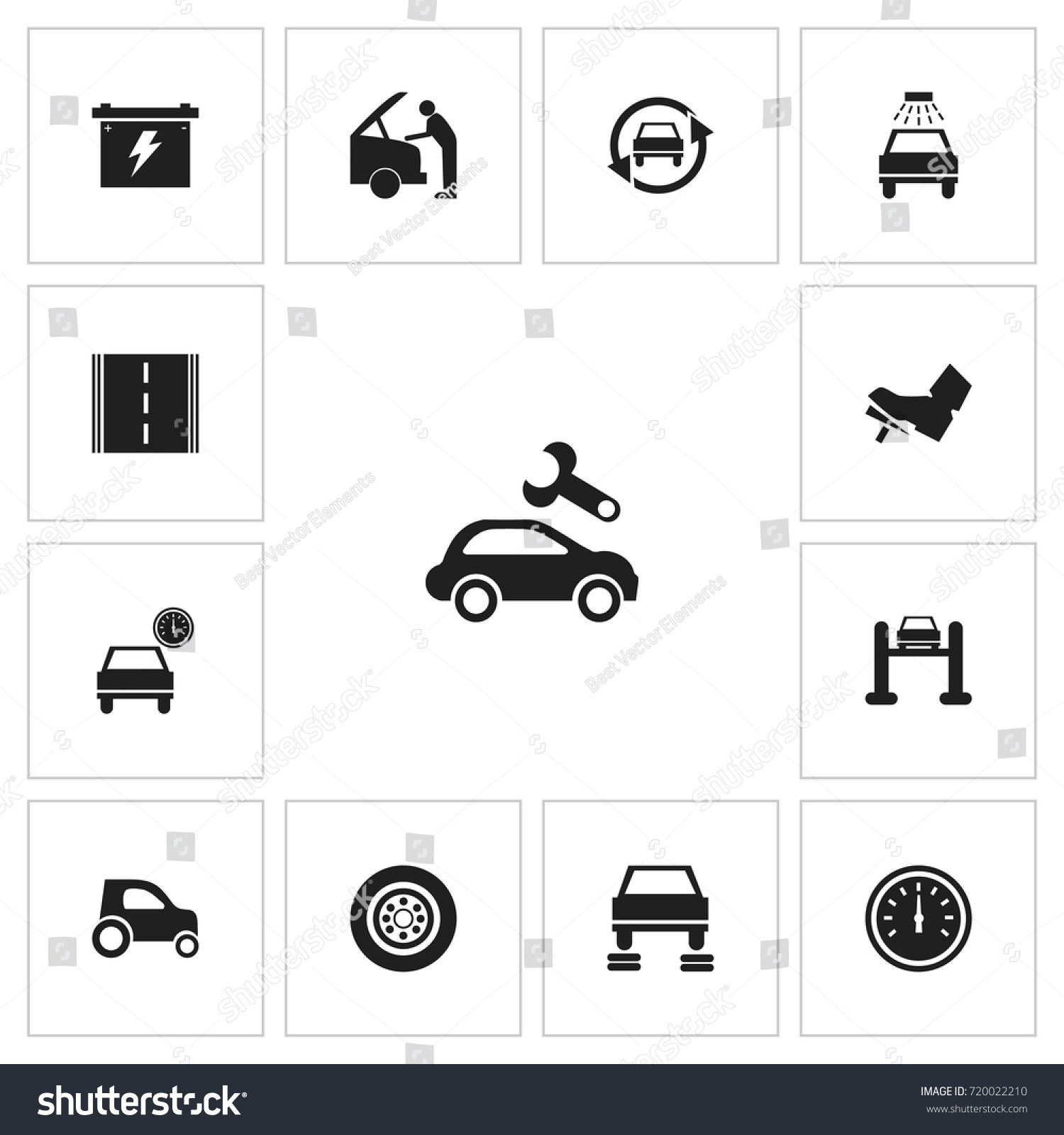 Set 13 editable vehicle icons includes stock vector 720022210 includes symbols such as car odometer battery buycottarizona