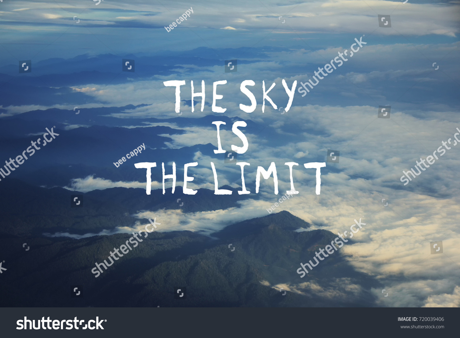 Motivation Quotes Sky Limit Blurred Background Stockfoto Jetzt