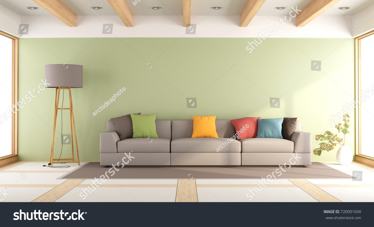 Modern Living Room With Green Wall And Colorful Sofa
