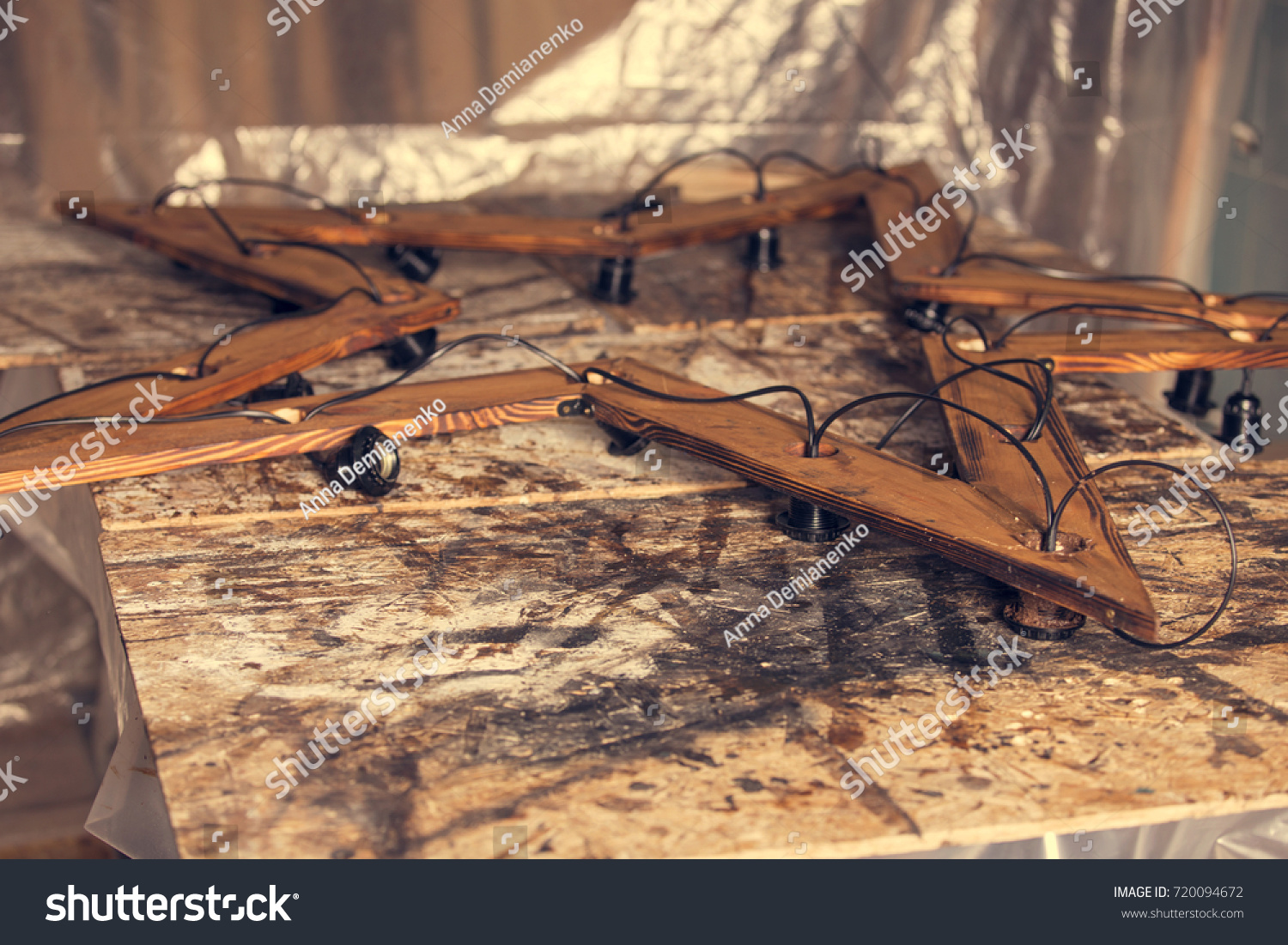 Design Project Making Wooden Decoration Shape Stock Photo Edit Now Wiring Metal Bulb Holder Of In A Star With Electric Wires And