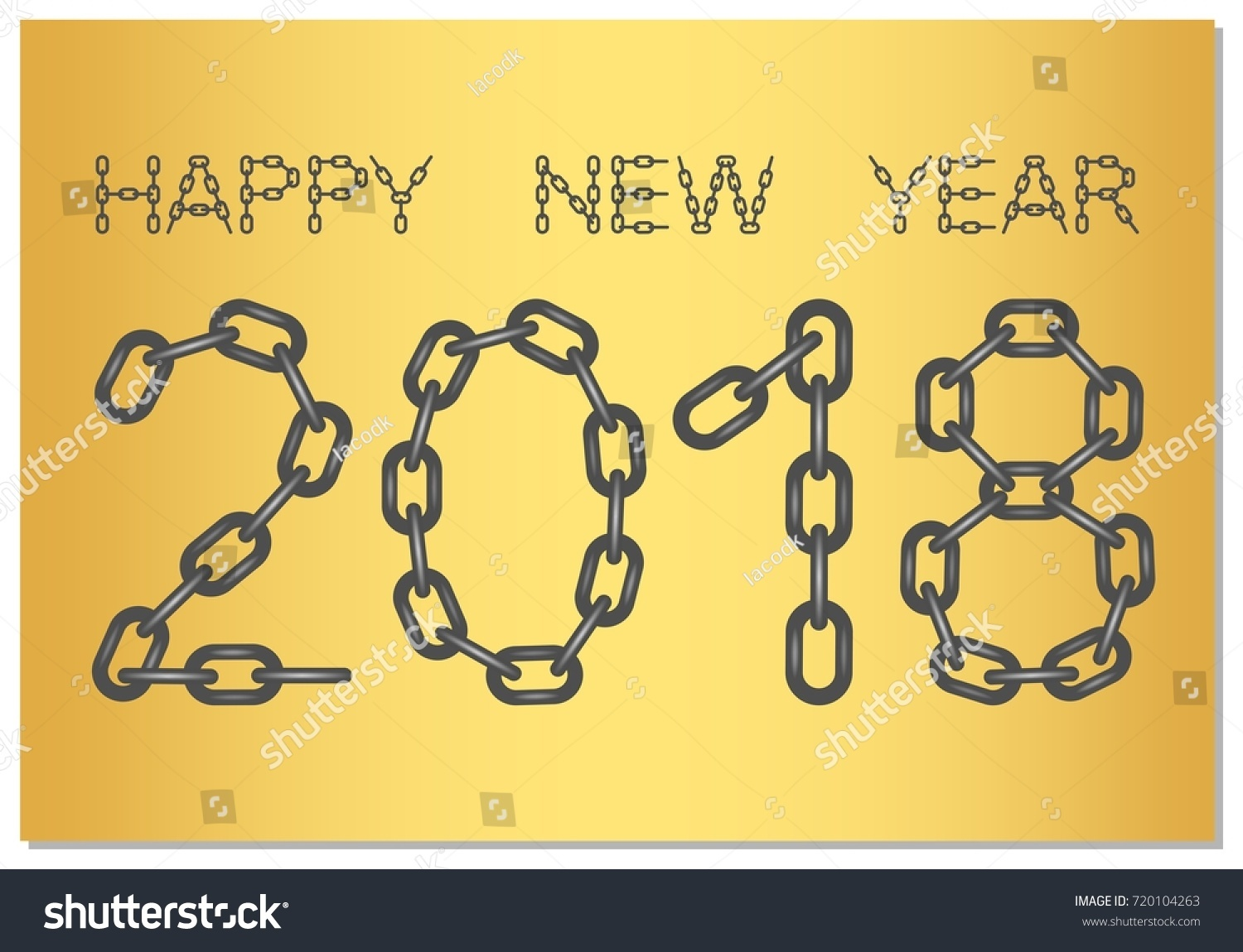 New year greetings 2018 words happy stock vector royalty free new year greetings for 2018 with the words happy new year from steel chain on a m4hsunfo