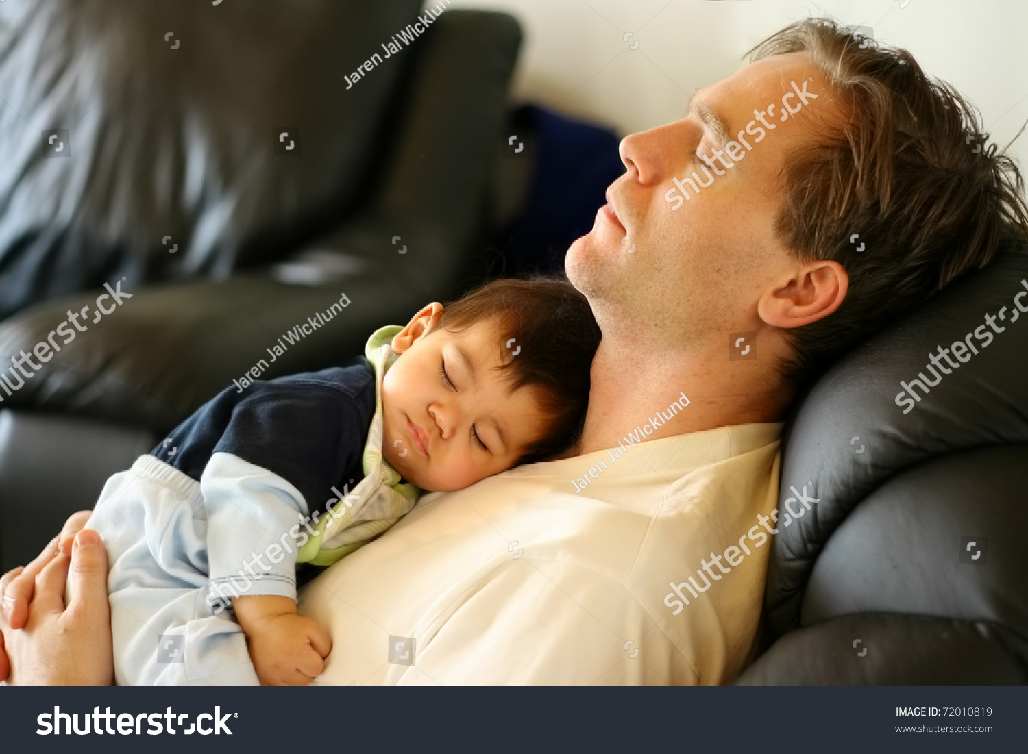 Baby Sleeping On Dad S Chest Stock Photo 72010819