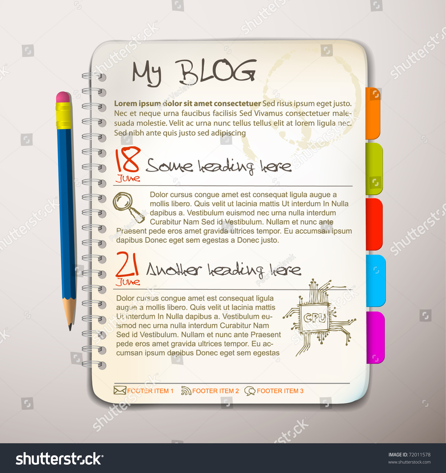 Blog Web Site Template Open Notepad Vector 72011578 – Notepad Template Word