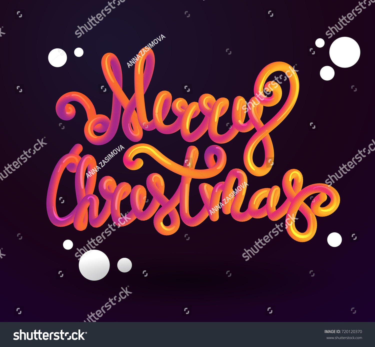Merry Christmas 3 D Lettering Xmas Placard Stock Vector (Royalty ...