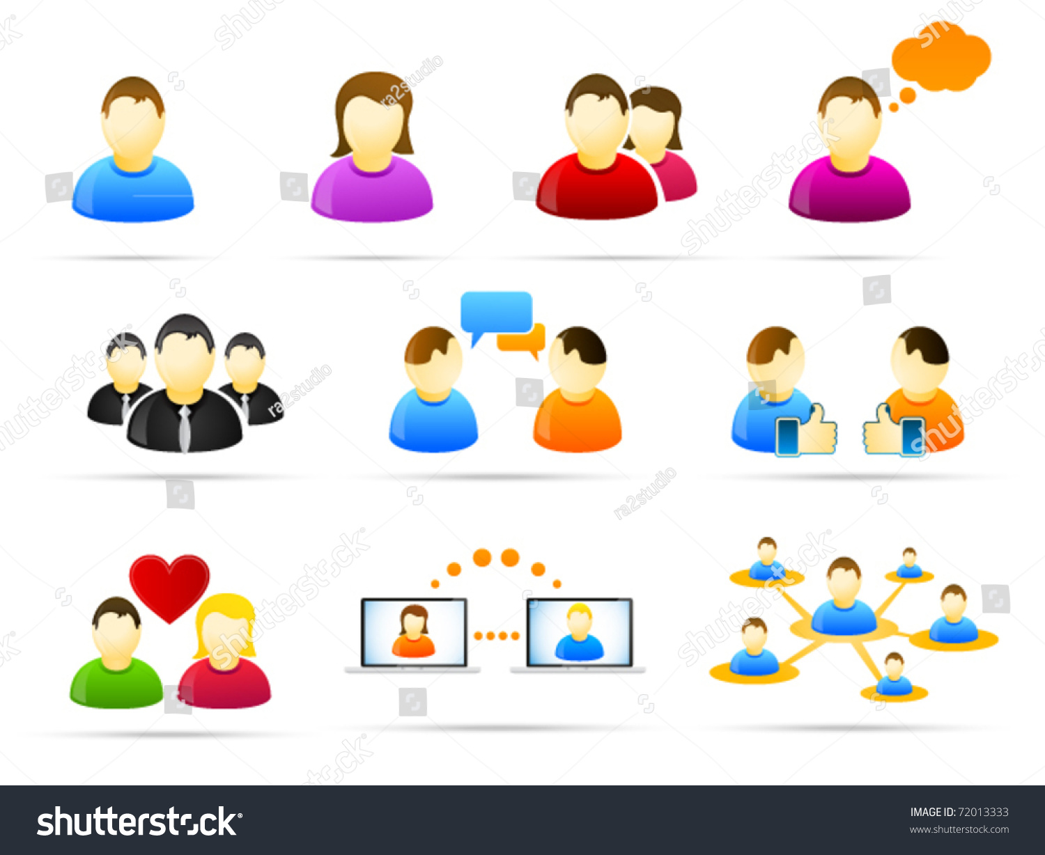 Colorful Social Media People Icon Set Stock Vector ...