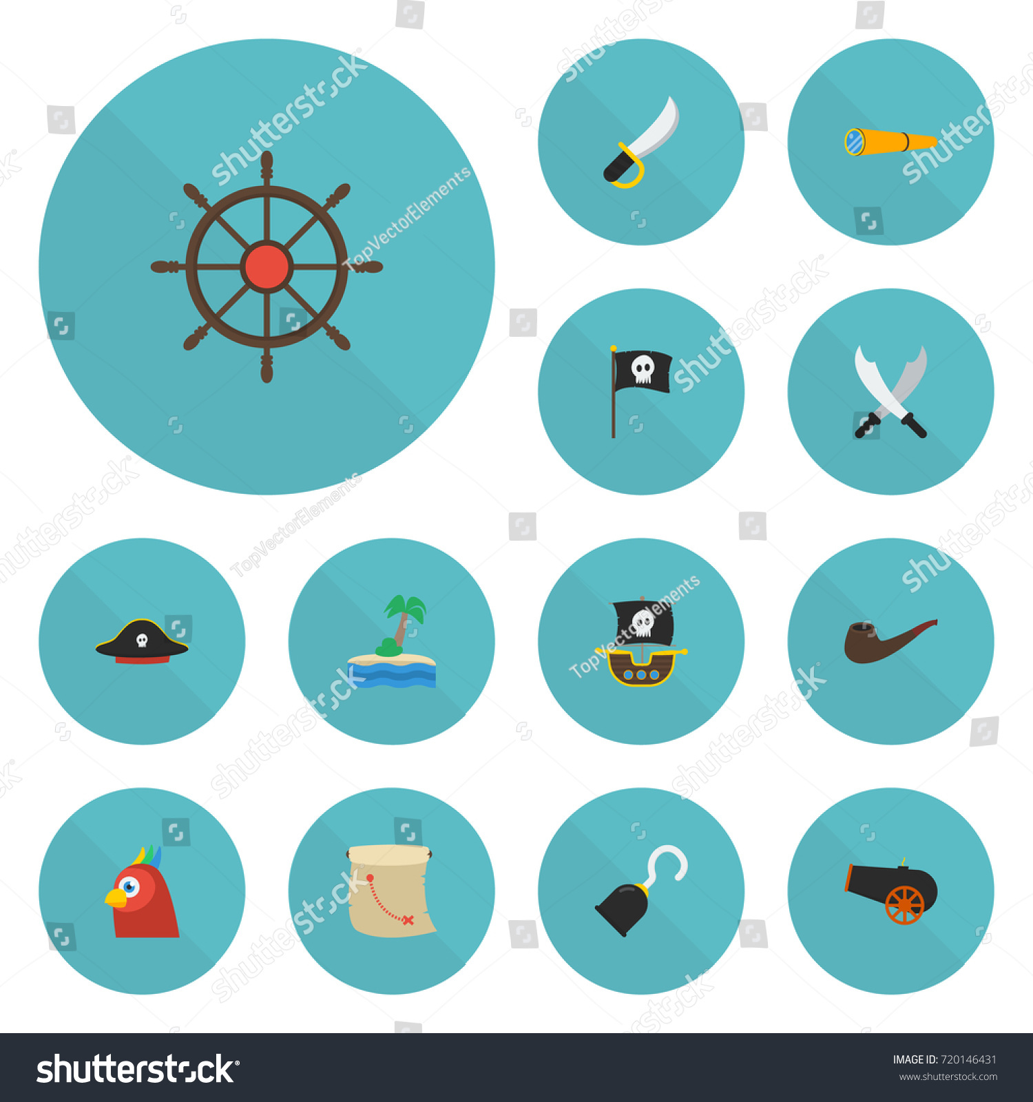 ef080c33 Flat Icons Ship Steering Wheel, Pirate Hat, Banner And Other Vector  Elements. Set
