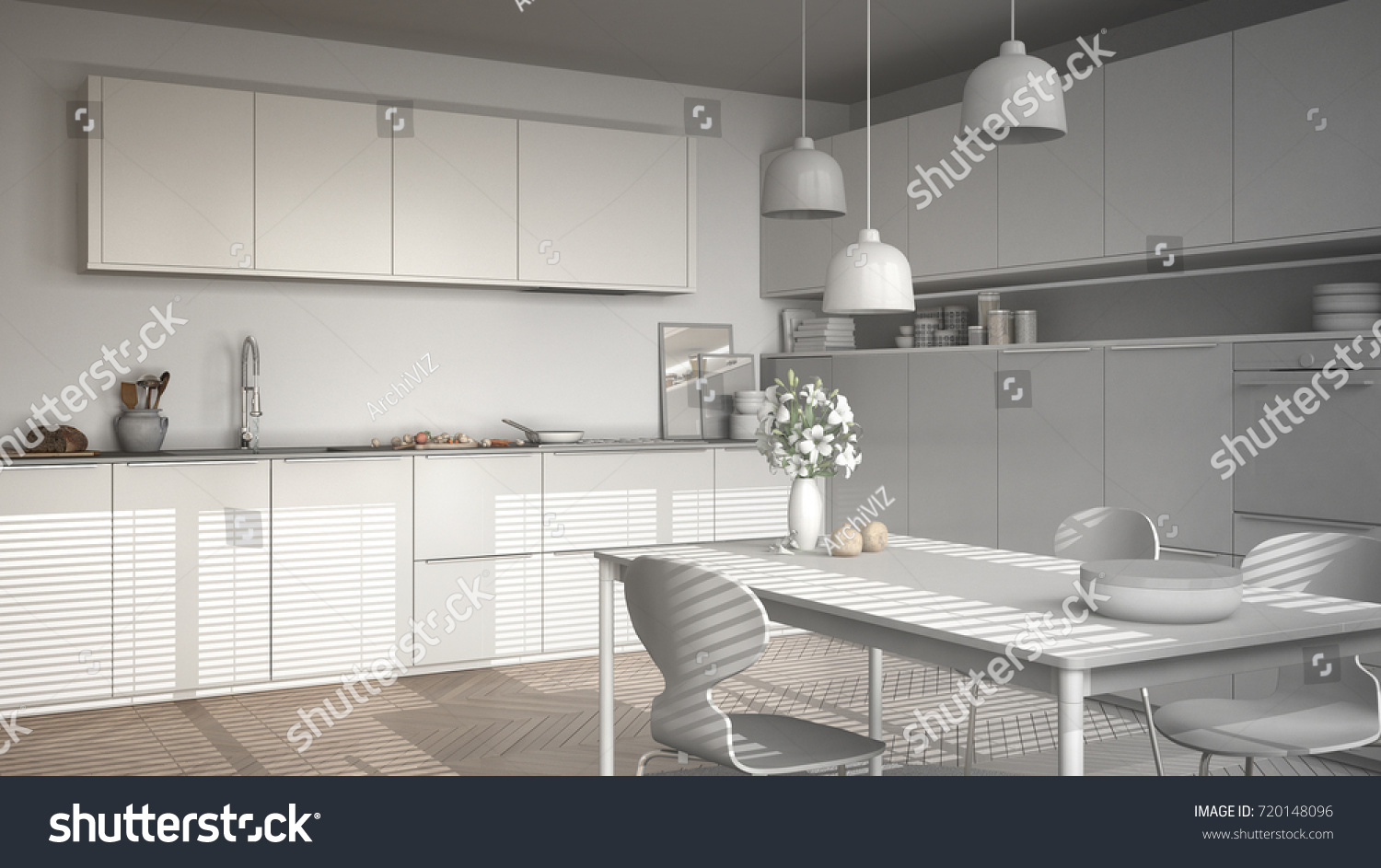 Unfinished Project Modern Kitchen Table Chairs Stock Illustration ...