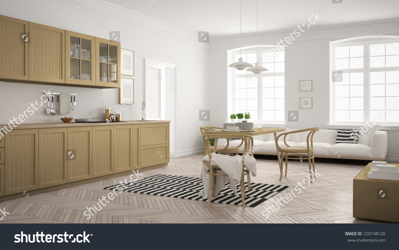 Minimalist Modern Kitchen Dining Table Living Stock Illustration ...