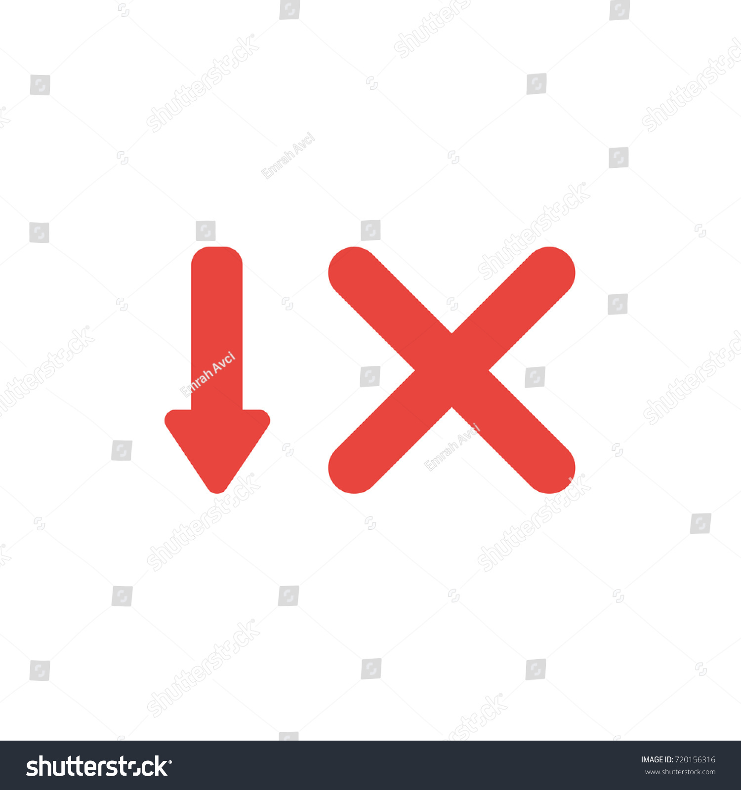 Flat design style vector illustration concept stock vector flat design style vector illustration concept of red arrow pointing down and red x mark symbol buycottarizona