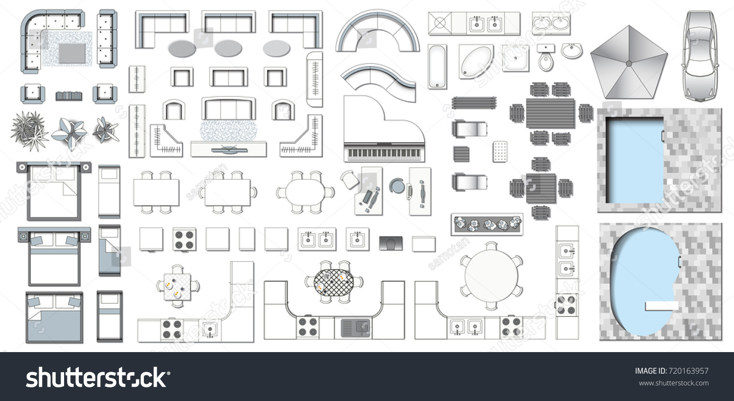 Set top view interior icon design stock vector 720163957 for Floor plan furniture store