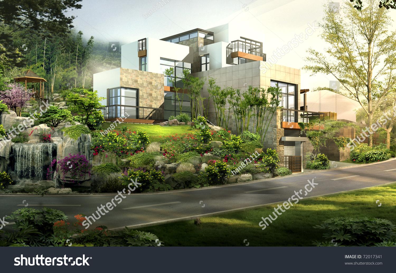 3d render building landscape stock photo 72017341 for 3d house builder