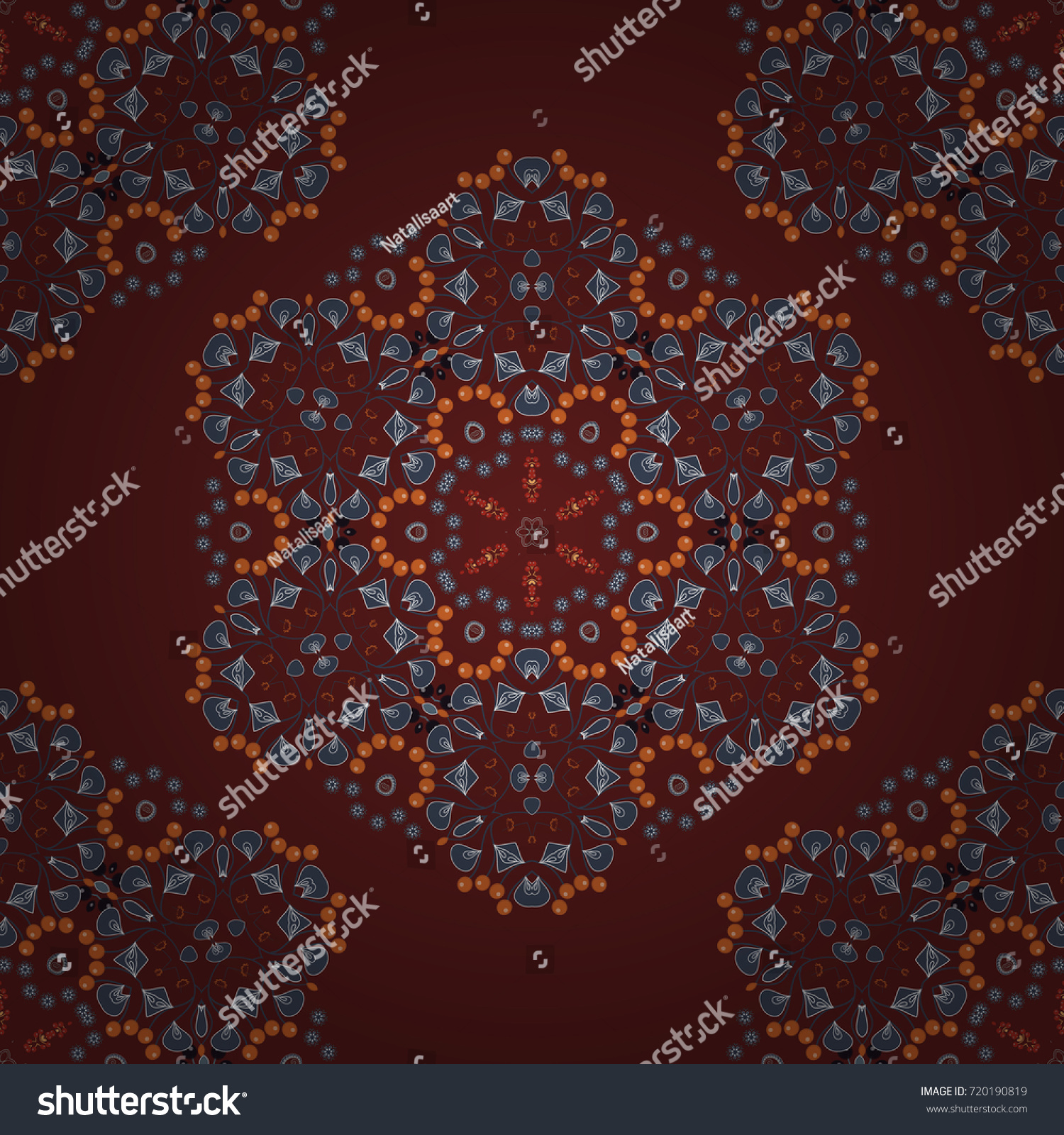 Fabric Wallpaper Or Wrap Print Seamless Motley Pattern With Oriental Mandalas In Blue