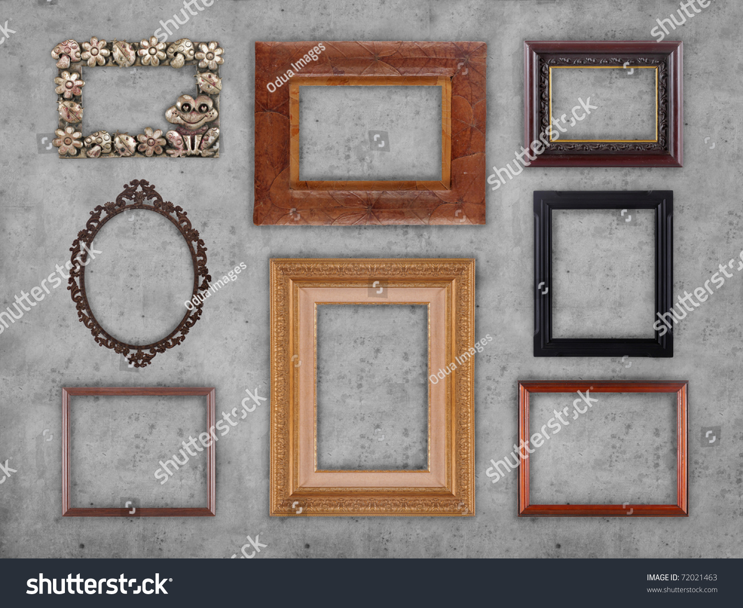 many different type of frames on the wall