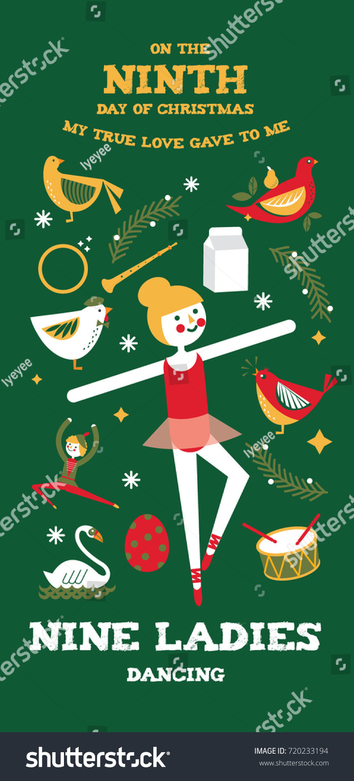 Ninth Day Christmas Twelve Days Christmas Stock Vector (Royalty Free ...