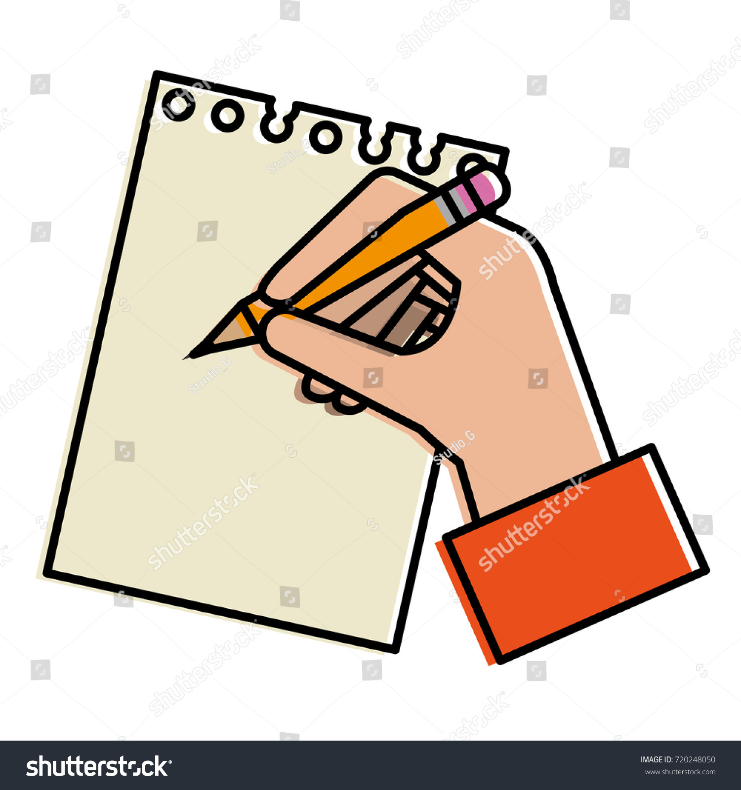 hand human pencil writing notebook stock vector (royalty free