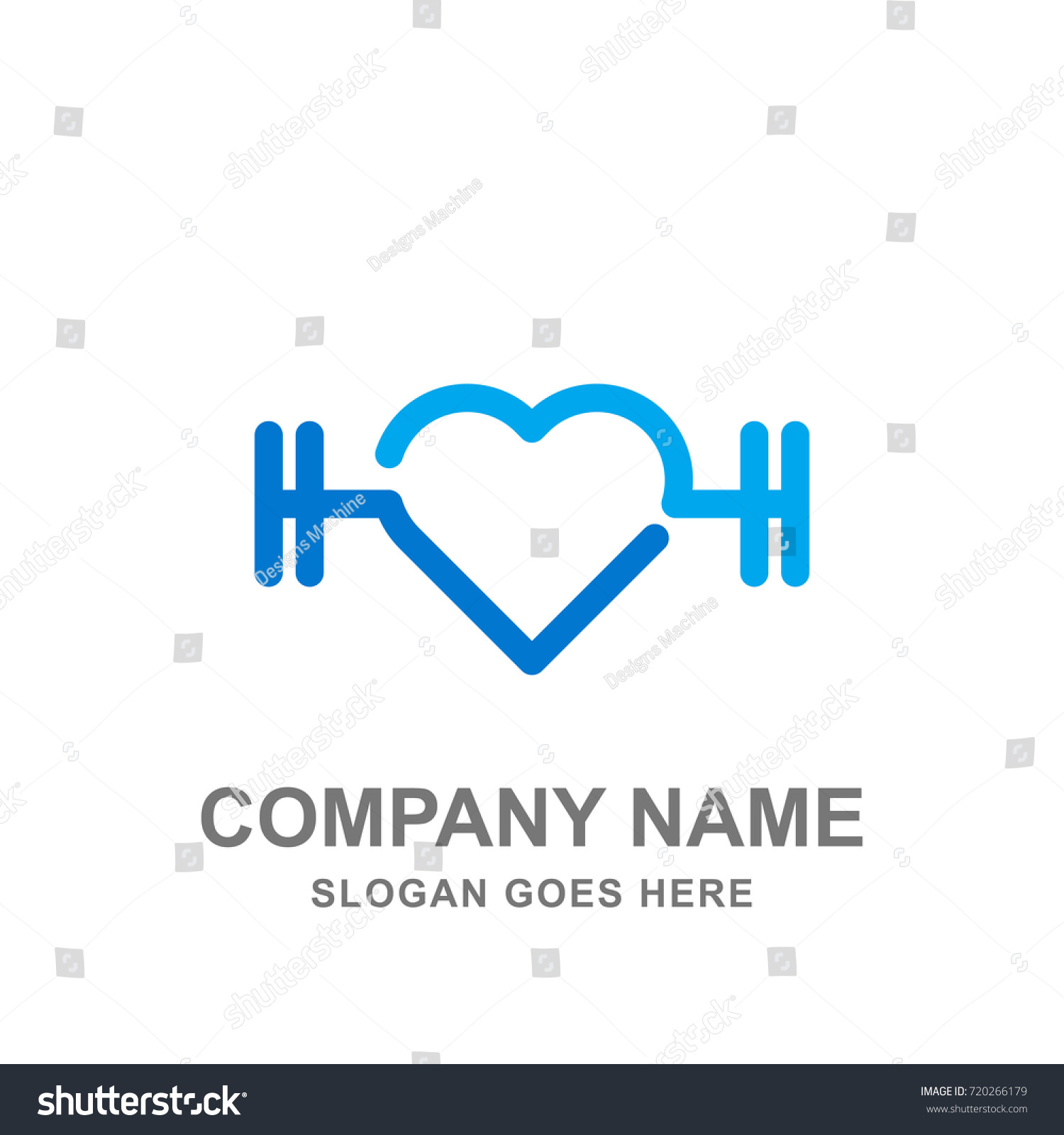 Love Fitness Gym Sport Healthcare Logo Stock Vector Royalty Free