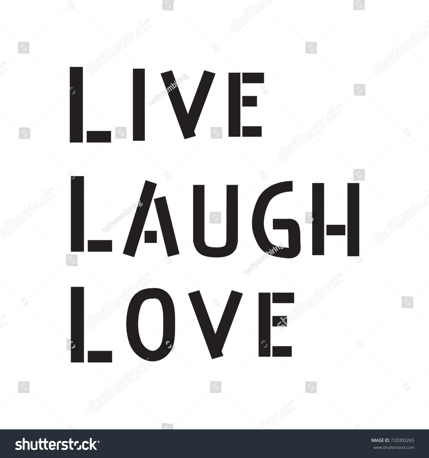 Hand Lettering Live Laugh Love On Stock Vector Royalty Free 720303265