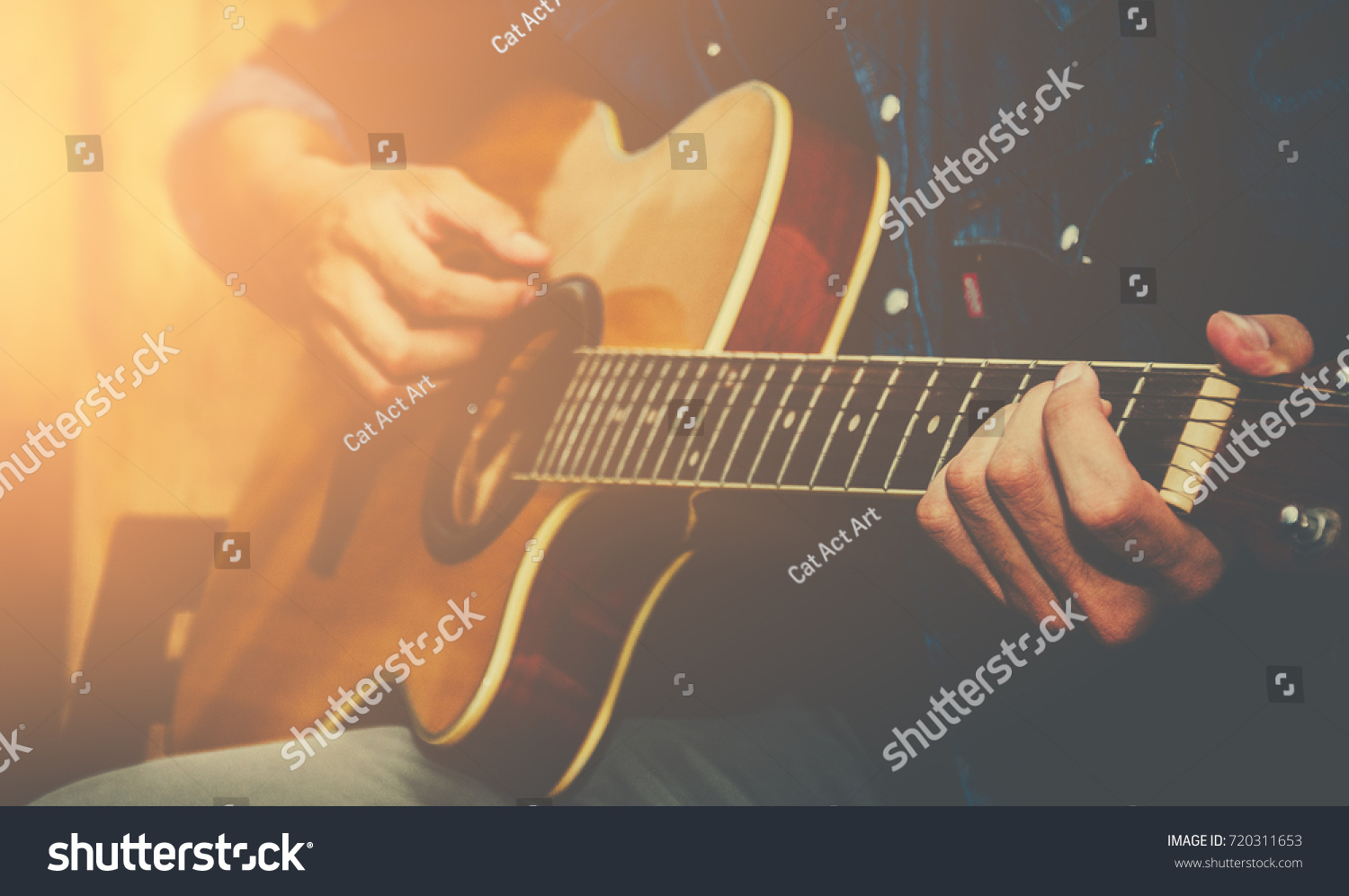 Young Man Hand Playing Acoustic Guitar Stock Photo Edit Now
