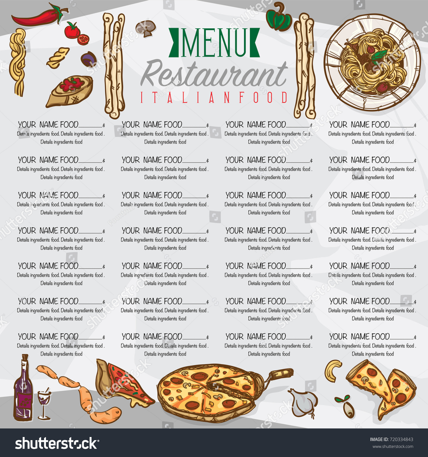 Italian Food Restaurant Names: Menu Italian Food Template Design Hand Stock Vector