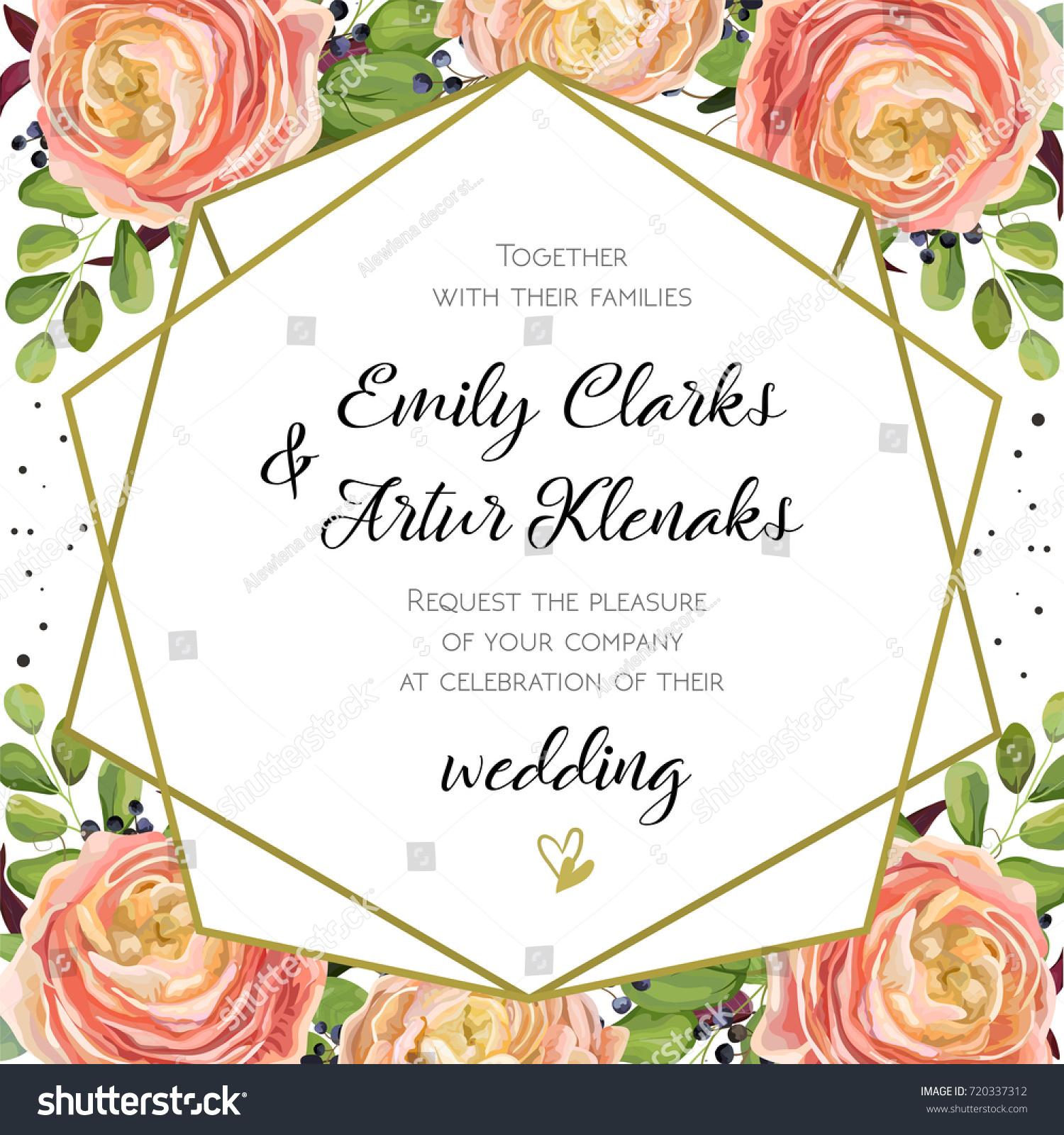 5 Blue Floral Wedding Invitation Card Vector Material: Wedding Invitation Floral Invite Card Design Stock Vector